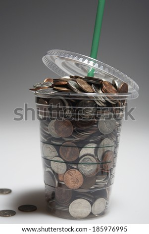 Coins in Disposable Cup