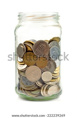 Coins in glass jar   - stock photo