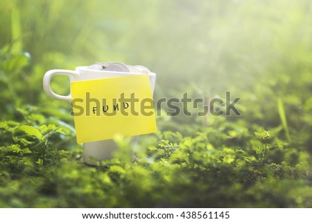 Coins in glass money mug with fund label, blurred grass view at background. Financial concept. - stock photo