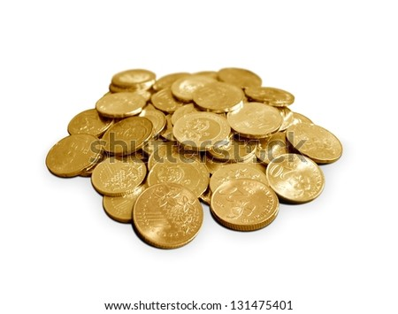 Coins in gold color over white - stock photo