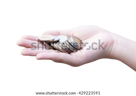Coins in hands Isolated on white,Donation Investment Fund Financial Support Charity  Dividend Market Growth Home House Stock Trust Wealthy Giving Planned Accounting Collection Debt Banking ROI concept - stock photo