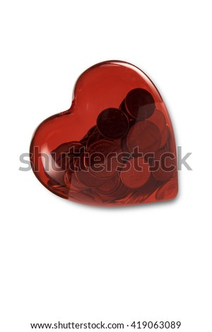 Coins in Heart Shape on White a Background. - stock photo