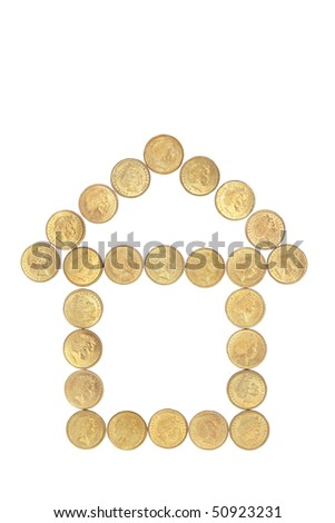 Coins in House Shape on White Background
