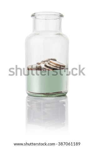 coins in jar with  empty space for text