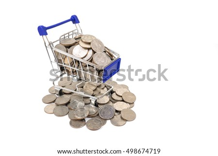 coins in shopping cart on the white background