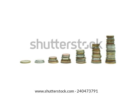 coins increasing stacks ladder over white background - stock photo