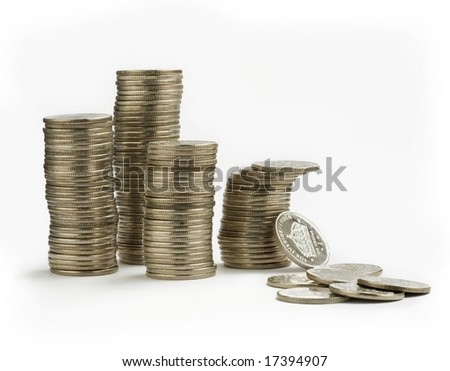 Coins isolated on white background. - stock photo