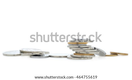Coins isolated on white background.