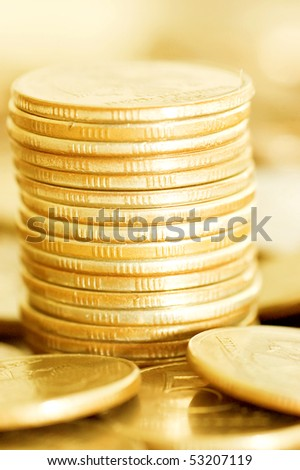 coins macro close up background - stock photo