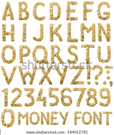 Coins money handmade alphabet font isolated on white background - stock photo