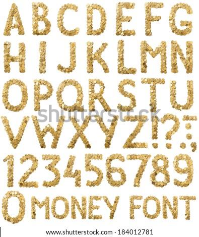 Coins money handmade alphabet font isolated on white background - stock photo