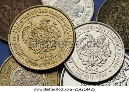 Coins of Armenia. Armenian national coat of arms depicted in Armenian dram coins.  - stock photo