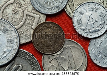 Coins of Bulgaria. Coat of arms of the People's Republic of Bulgaria depicted in the Bulgarian one stotinka coin (1988). - stock photo