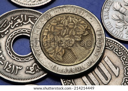 Coins of Colombia. Guacari Tree depicted in Colombian five hundred pesos coin.  - stock photo