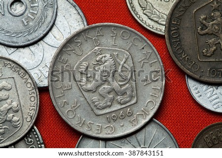 Coins of Czechoslovakia. Coat of arms of the Czechoslovak Socialist Republic depicted in the Czechoslovak 5 koruna coin (1966). - stock photo