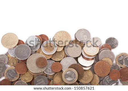 Coins of different countries - stock photo
