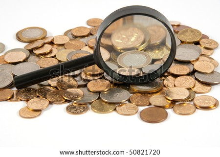 Coins of different countries on a white background