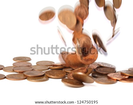 Coins of 5 euro cents and falling over others that are isolated on a white background.