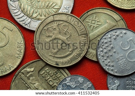 Coins of Finland. Finish national coat of arms depicted in the Finnish one markka coin (1993). - stock photo