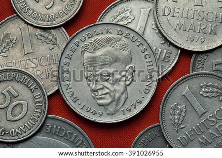 Coins of Germany. German social democratic politician Kurt Schumacher depicted in the German two Deutsche Mark coin (1979). - stock photo