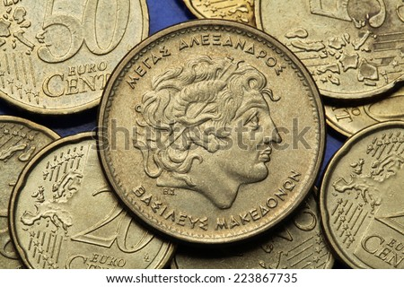 Coins of Greece. Alexander the Great depicted in the old Greek 100 drachma coin.  - stock photo