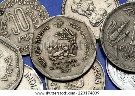 Coins of India. Indian one rupee coin from 1992 dedicated to World Food Day. - stock photo