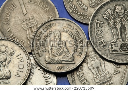 Coins of India. Tamil poet and philosopher Saint Thiruvalluvar depicted in the Indian five rupees coin from 1995. - stock photo