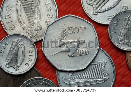 Coins of Ireland. Woodcock depicted in the Irish 50 pence coin. - stock photo