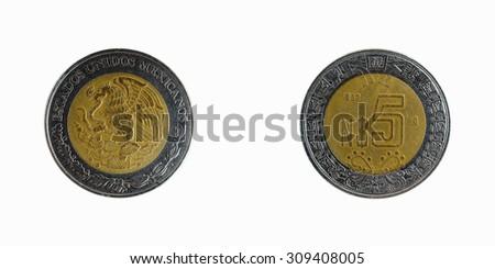 coins of Mexico 5 Peso 1992 - stock photo