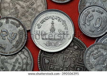 Coins of Nepal. Swayambhunath Temple in Kathmandu, Nepal depicted in the Nepalese 50 paisa coin. - stock photo