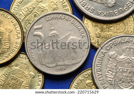 Coins of Serbia. Krusedol monastery in Vojvodina, Serbia, depicted in Serbian five dinars coin.  - stock photo