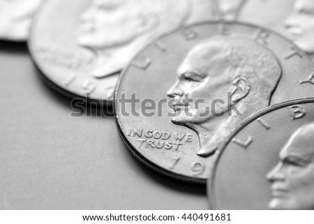 Coins of Silver American Money wealth and benefits of riches - stock photo
