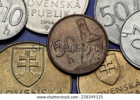 Coins of Slovakia. Renaissance tower of Devin Castle in Bratislava depicted on the Slovak 50 hailers coin. - stock photo