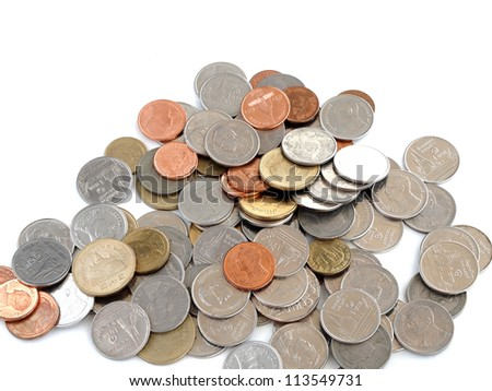 Coins of  Thai Baht isolated white background