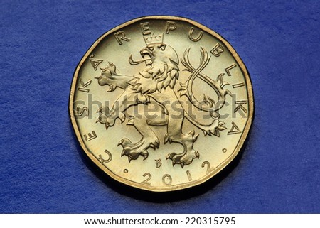Coins of the Czech Republic. Bohemian heraldic lion depicted in the Czech twenty koruna coin.  - stock photo