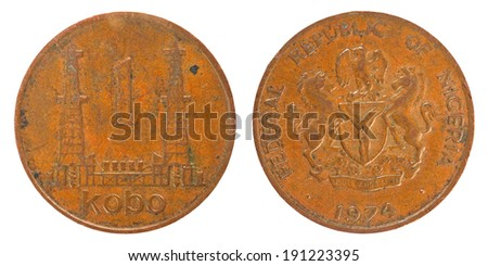coins of the Republic of Nigeria  1 Kobo - stock photo