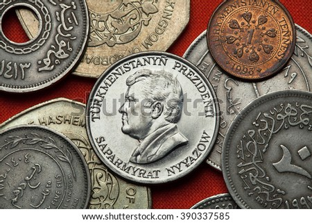Coins of Turkmenistan. Turkmen president Saparmurat Niyazov depicted in the Turkmenistan 50 tenge coin. - stock photo