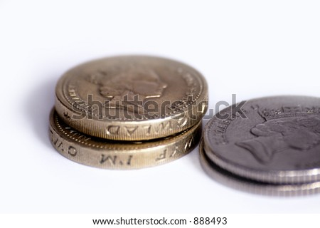 Coins on a white background.