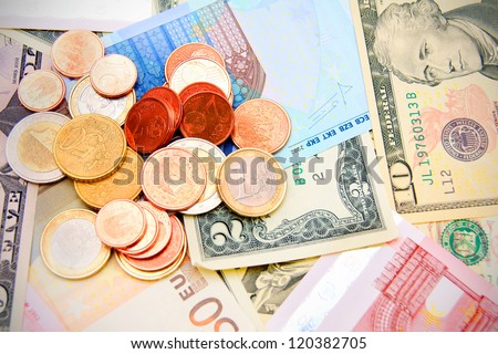 Coins on banknotes.