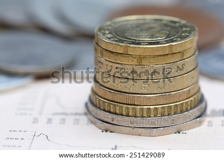 Coins on business page of a newspaper - stock photo