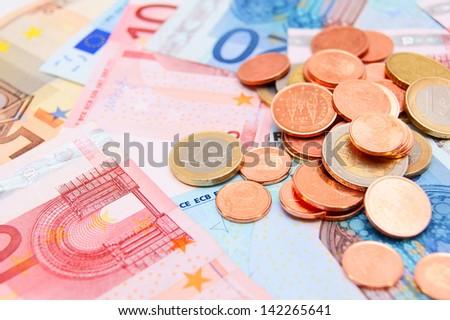 Coins on denominations (euro). - stock photo