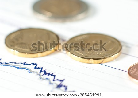 Coins on fluctuating graph.