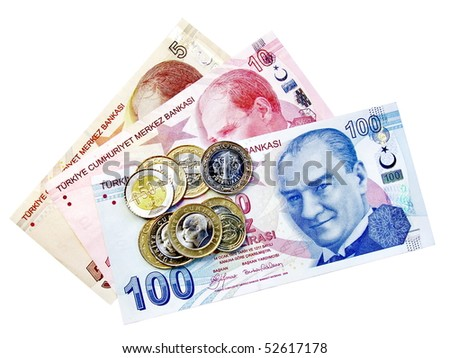 Coins on money bunch - stock photo