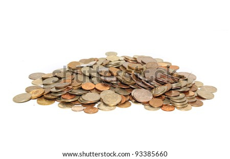 coins on white background - stock photo