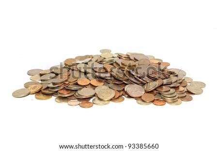 coins on white background - stock photo
