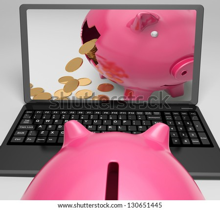 Coins Piggy Laptop Showing Banking Financial Success - stock photo