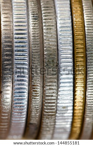 coins posed side by side - stock photo