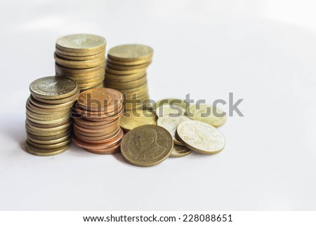 Coins Satangs used in ancient times in Thailand. - stock photo