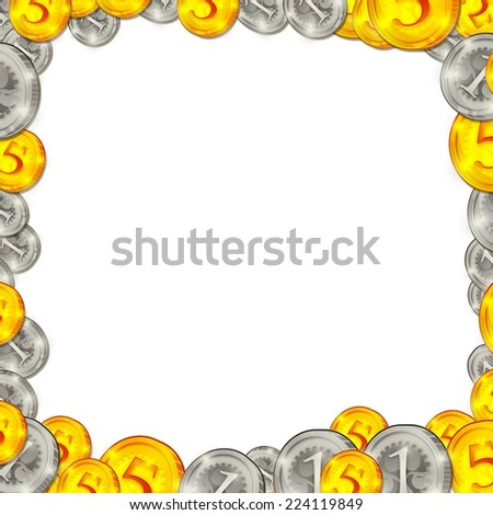 coins square background frame illustration isolated on white - stock photo