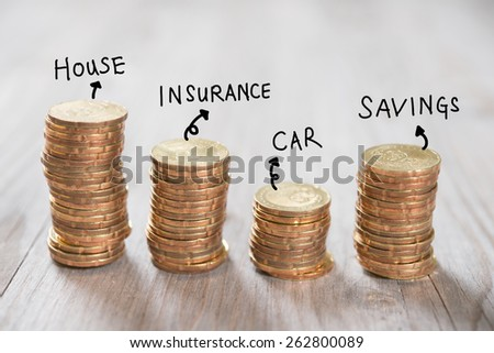 Coins stack in row with label on wooden background, financial concept. Focus on foreground with blur background. - stock photo